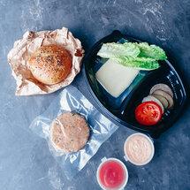 Заготовка для бургера с котлетой из курицы