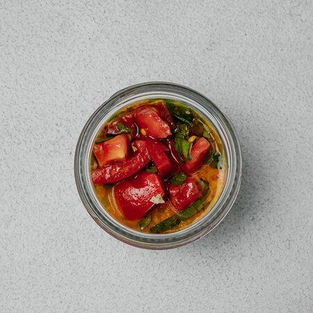 Панна котта с моцареллой и тар-таром из спелых томатов